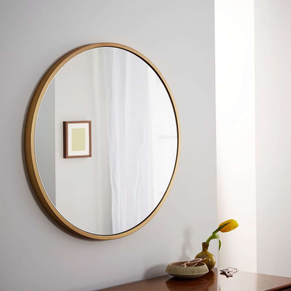 Metal Framed Round Wall Mirror Antique Brass West Elm Uk