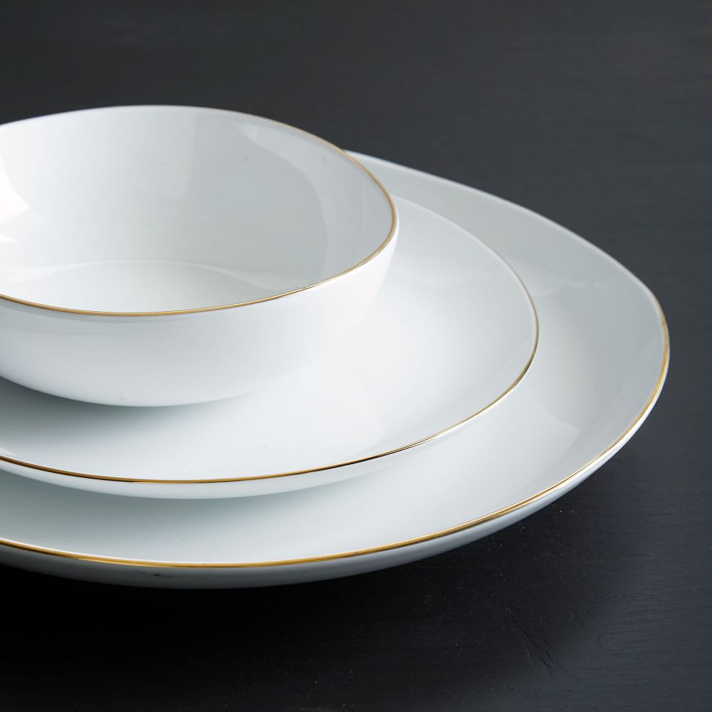 Organic Shaped Dinnerware Set - Metallic Rimmed