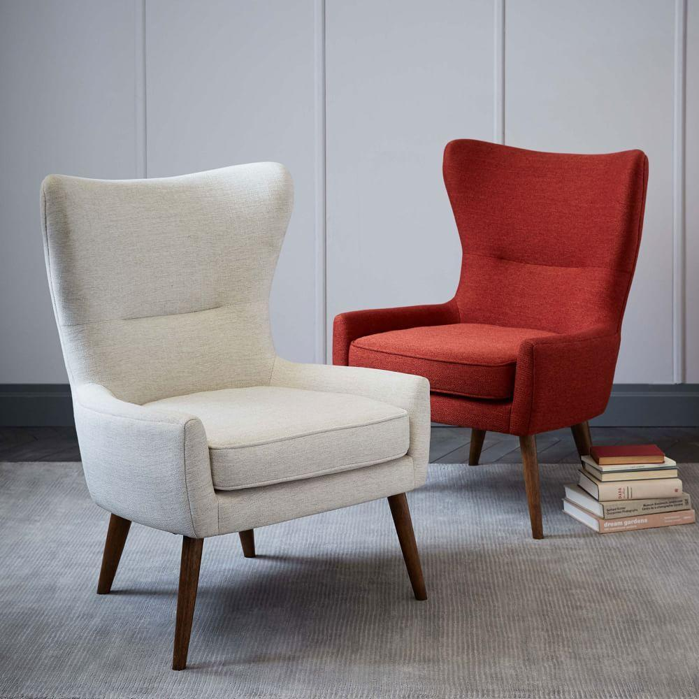 Leather slipper chair west elm - Erik Upholstered Wing Chair