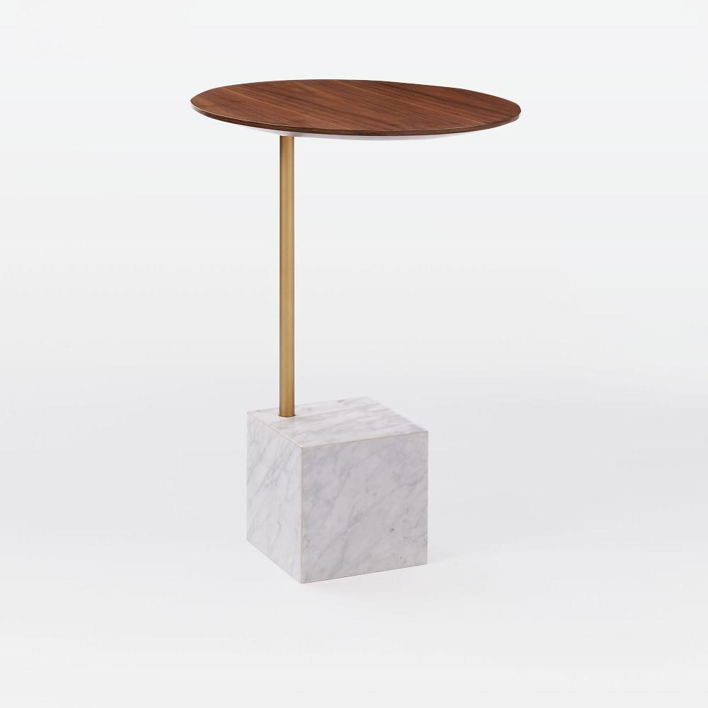 3d5eb2d952 Cube Side Table - Walnut/White Marble | west elm UK