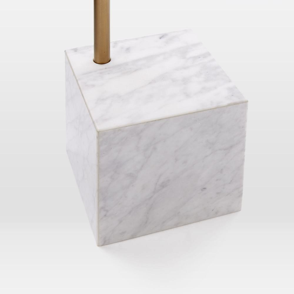 Cube Side Table - Walnut/White Marble