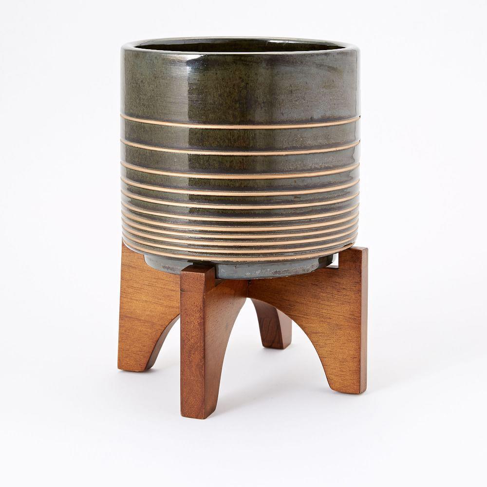 Mid-Century Turned Wood Leg Tabletop Planters - Black/Gold