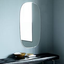 Curved Cutaway Floor Mirror Walnut West Elm Uk