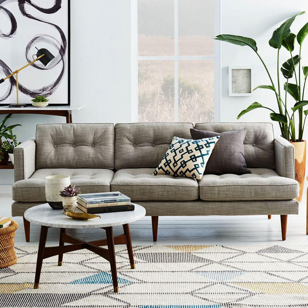 West Elm Living Room Peggy Mid Century Sofa Feather Grey 202 Cm West Elm Uk