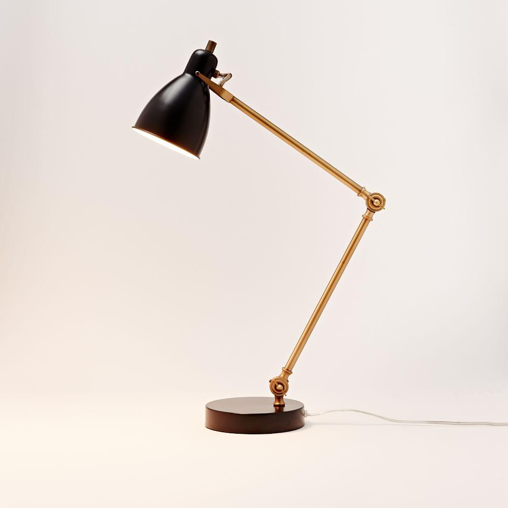 Industrial Task Table Lamp Black Antique Brass West