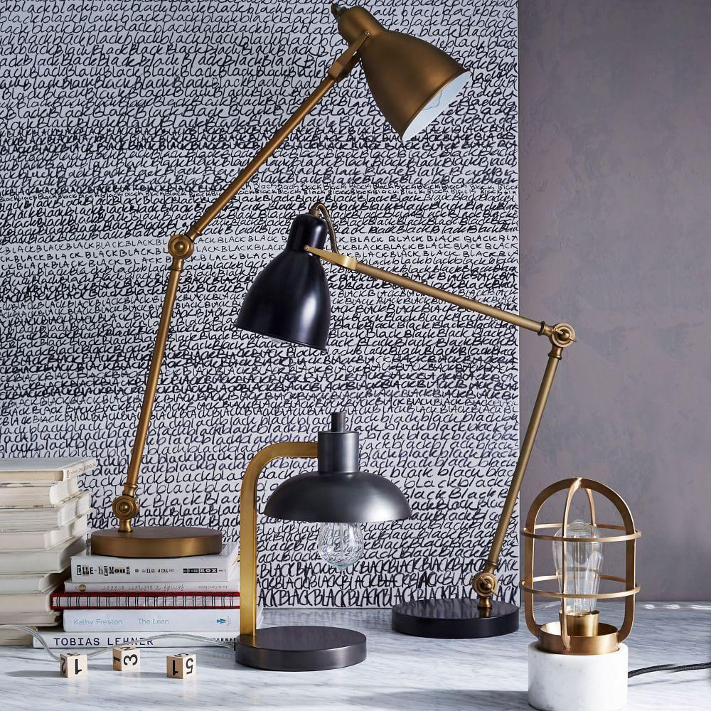 Industrial Task Table Lamp Black Antique Brass West