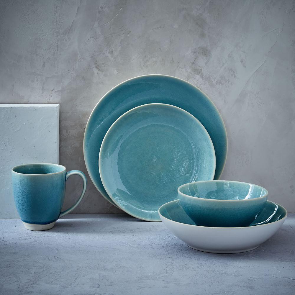 Alta Crackle Glaze Dinnerware Set Turquoise West Elm Uk