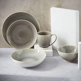 Alta Crackle Glaze Dinnerware Set - Light Grey