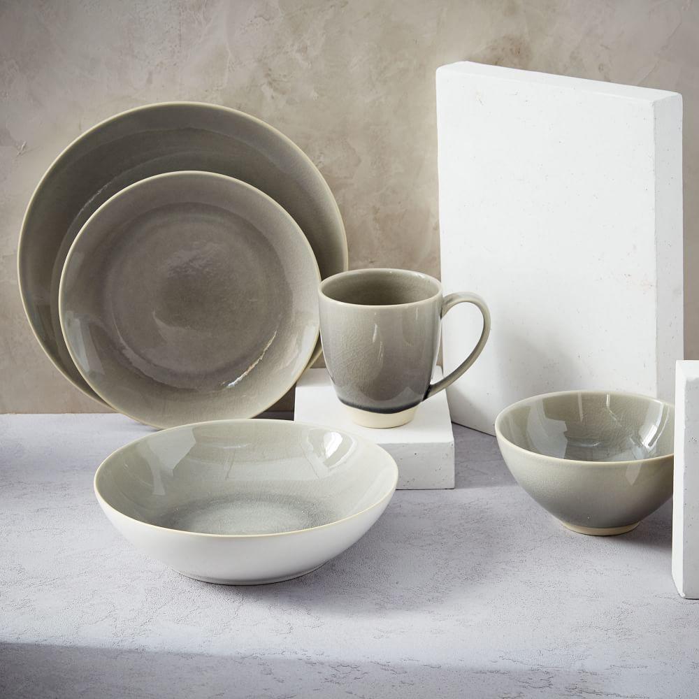 Alta Crackle Glaze Dinnerware Set Light Grey West Elm Uk