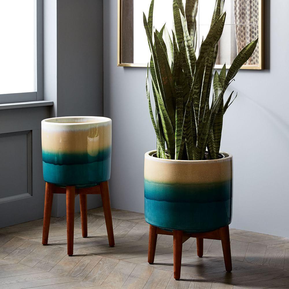 Mid Century Turned Wood Leg Planters Reactive Glaze