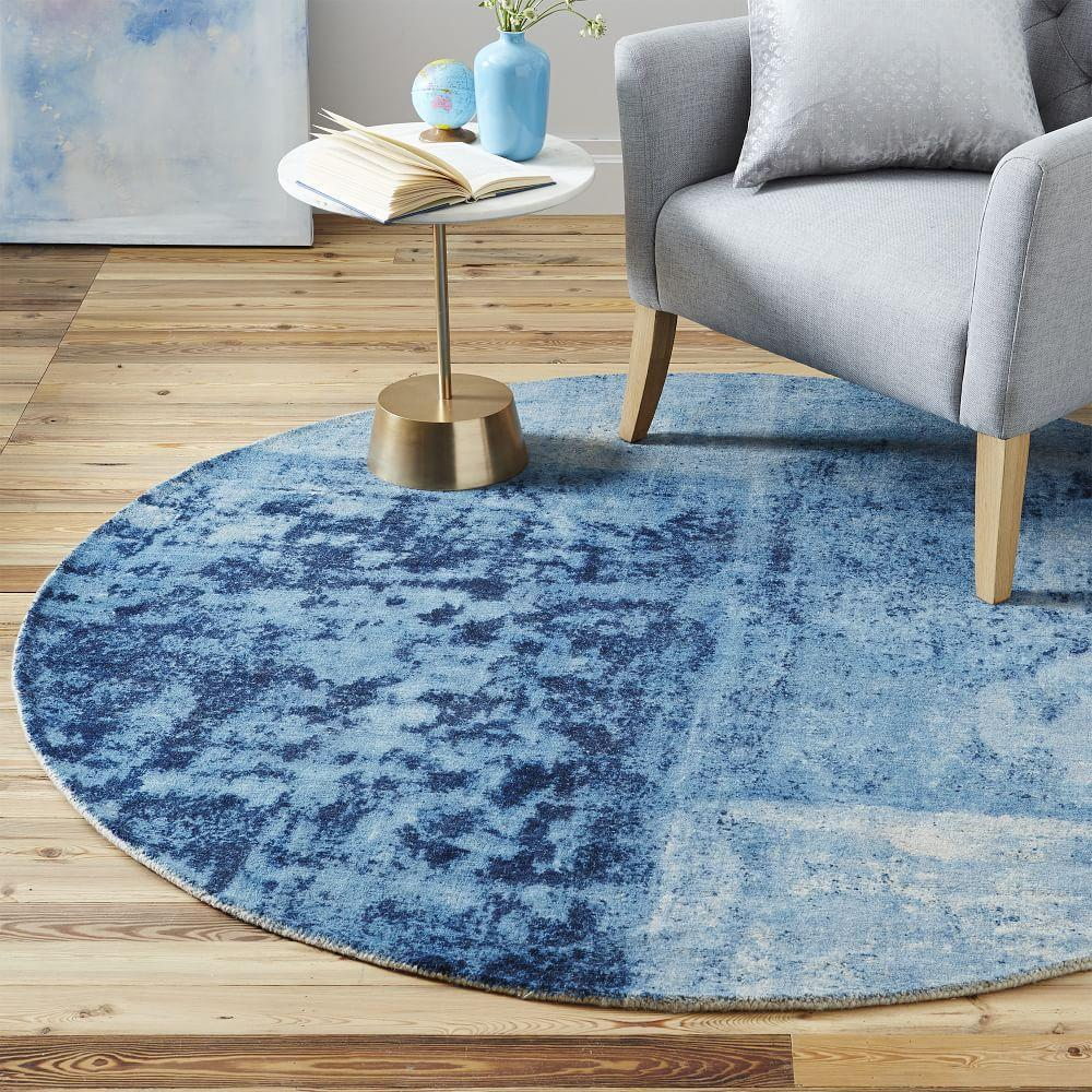 Distressed Rococo Round Wool Rug Blue Lagoon West Elm Uk