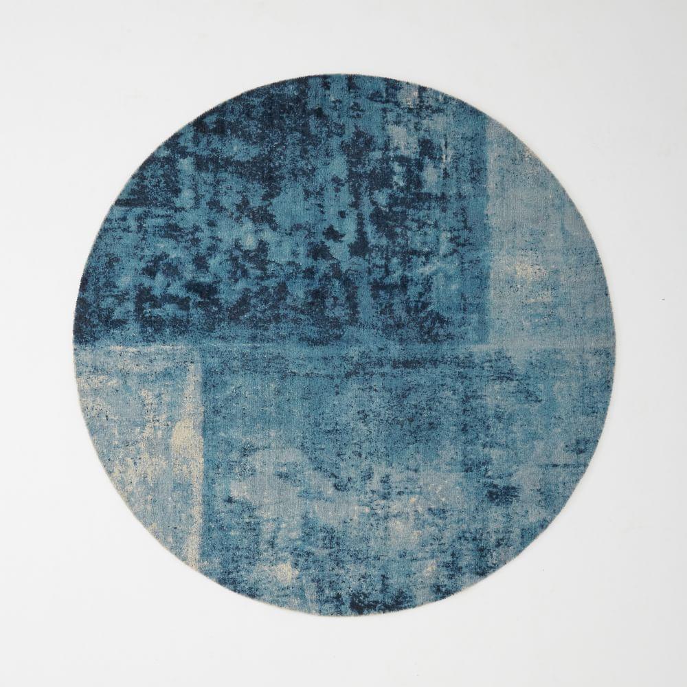 Distressed Rococo Round Wool Rug Blue Lagoon West Elm Uk