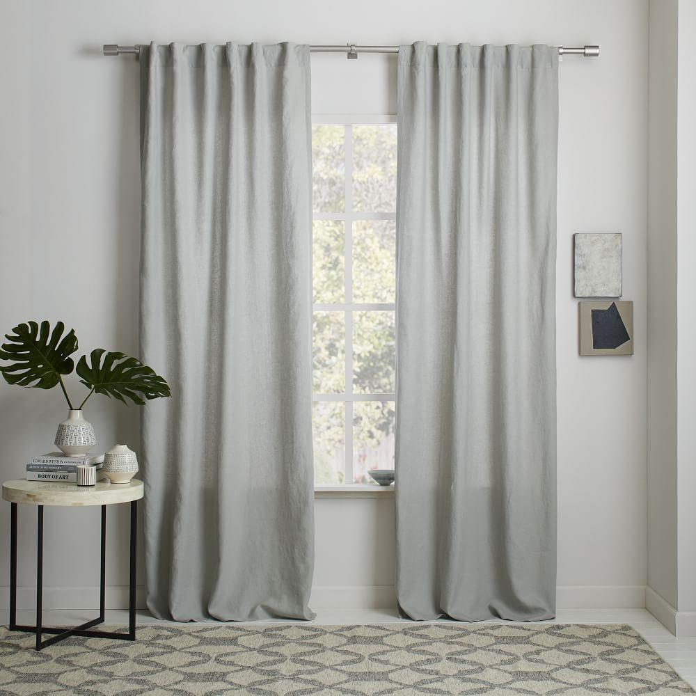 Belgian Flax Linen Curtain Blackout Lining Platinum West Elm Uk