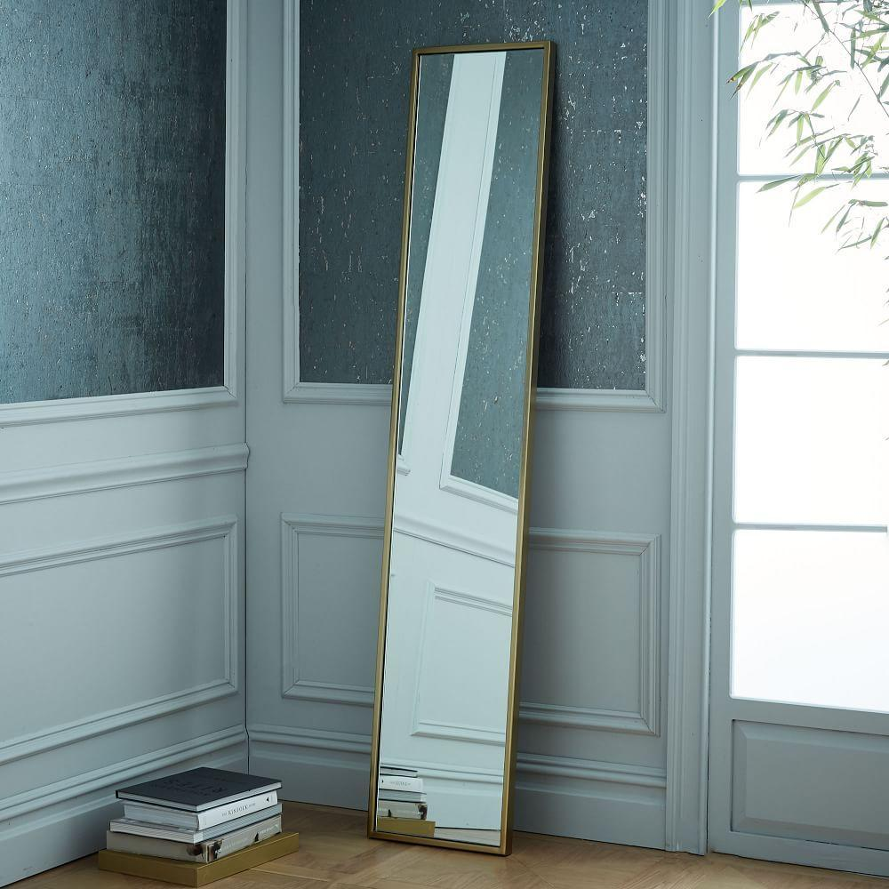 Metal framed narrow wall mirror west elm uk for Skinny wall mirror