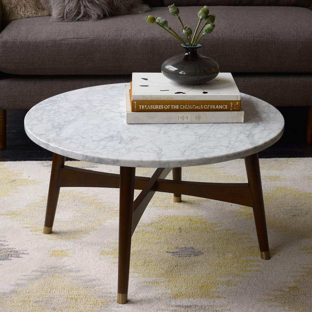 Reeve mid century coffee table marble walnut west elm uk for Stone topped coffee tables