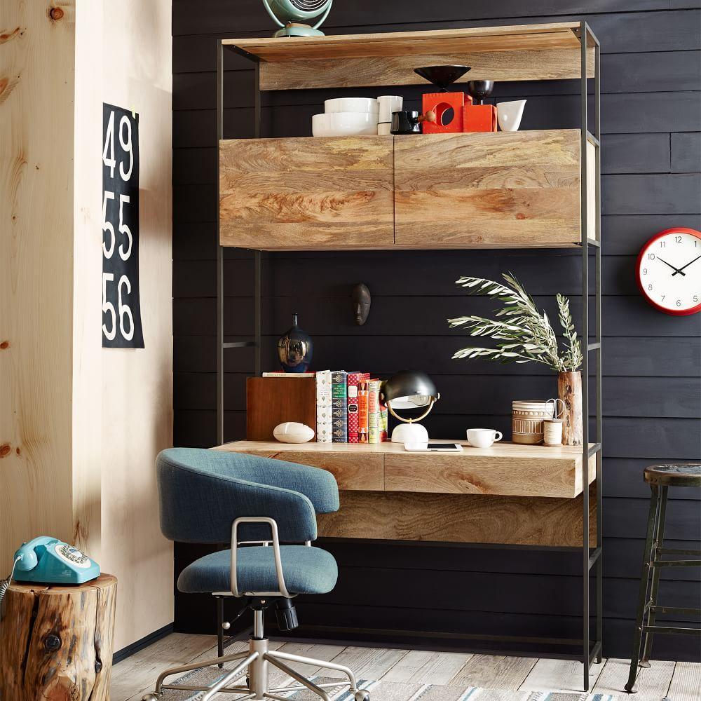 Modular Living Room Furniture Uk Industrial Modular 124 Cm Desk West Elm Uk