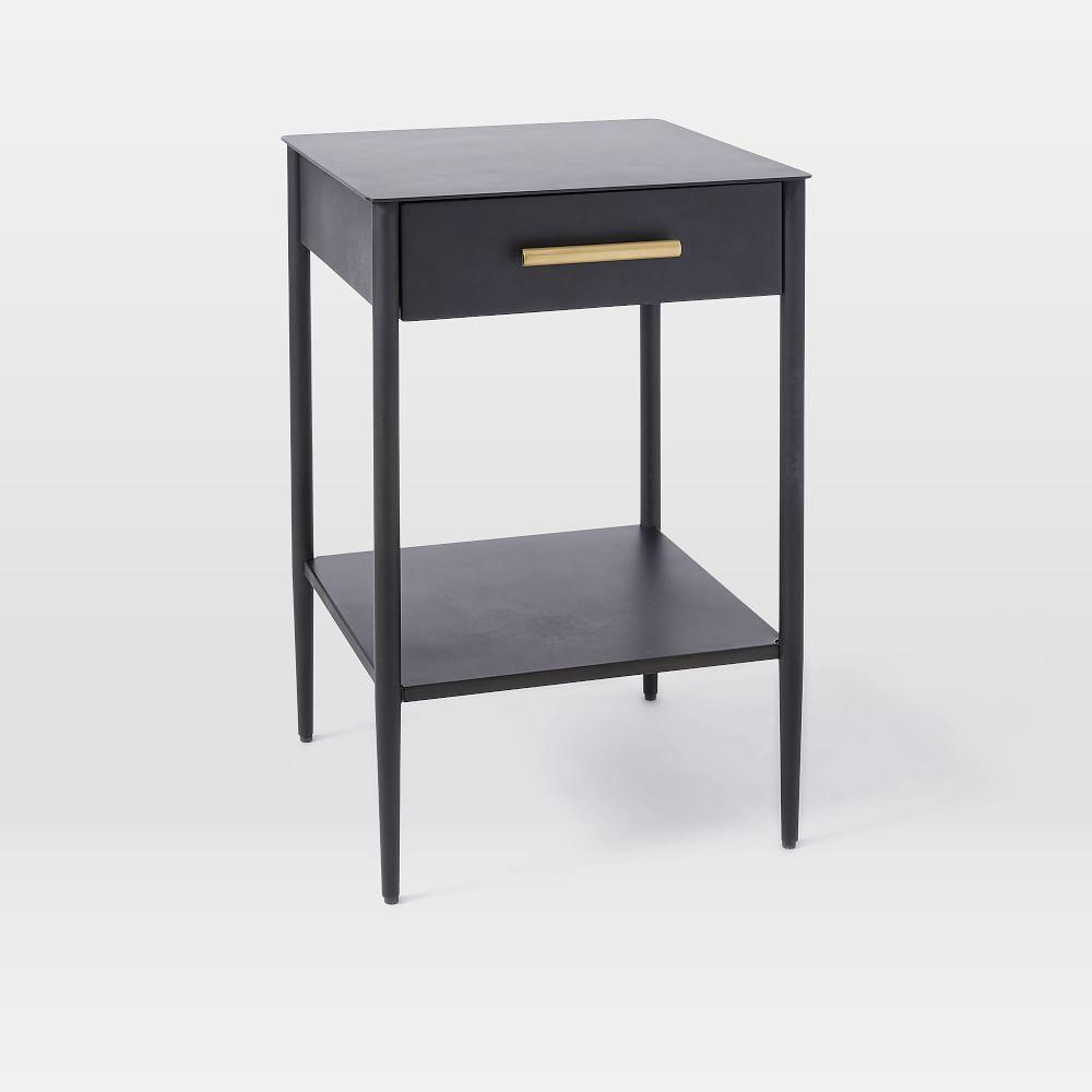 Metalwork bedside table hot rolled steel finish west elm uk - Bedside table ...
