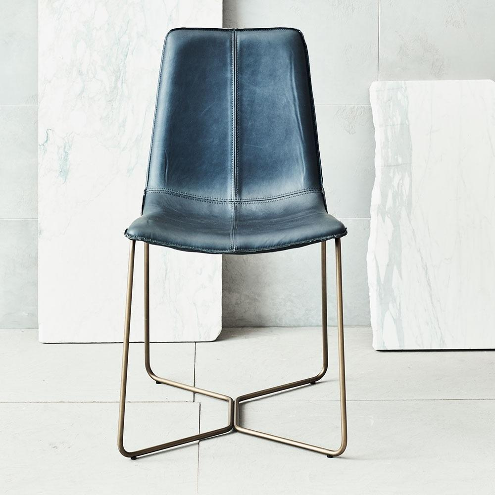 Slope Leather Dining Chair Antique Brass West Elm Uk