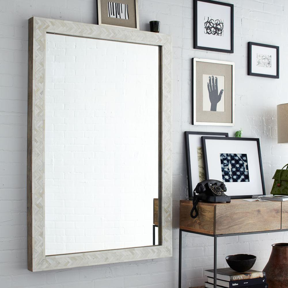 Parsons large wall mirror bone inlay west elm uk for Big wall mirror for living room