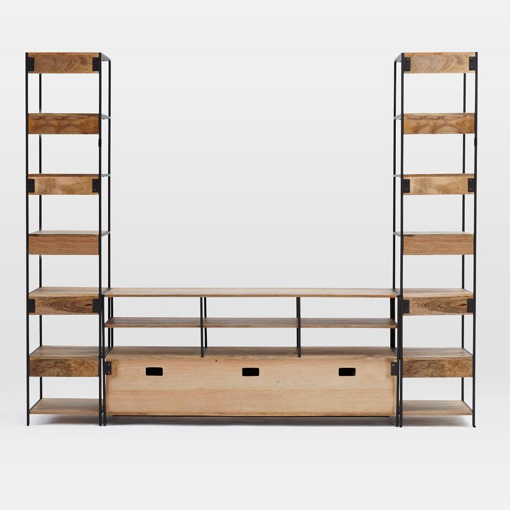 Industrial Modular Large Media Set w/ Bookshelves (256.5 cm)