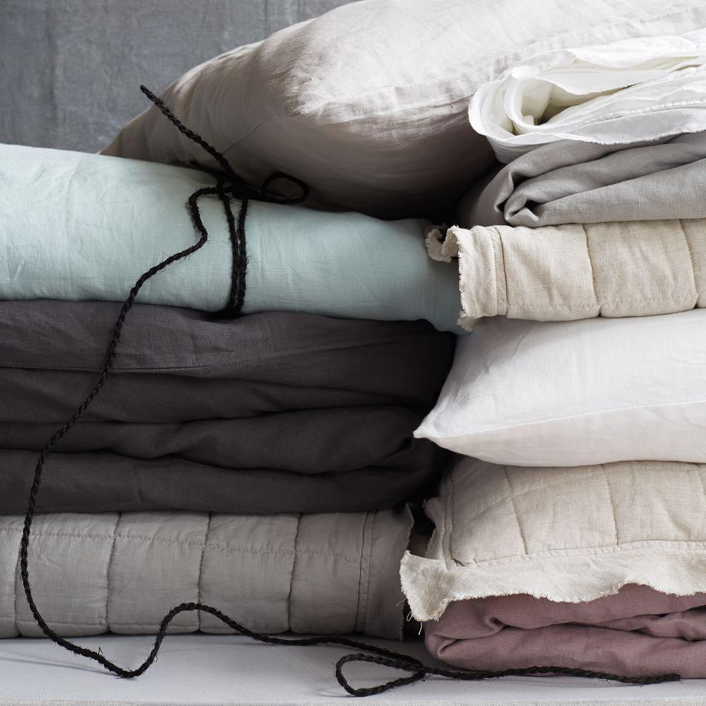 Belgian Flax Linen Bedspread + Pillowcases - Natural Flax