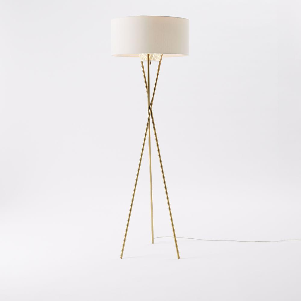 Mid-Century Tripod Floor Lamp - Antique Brass