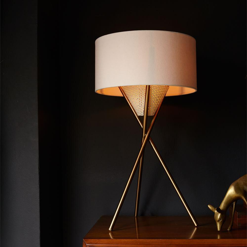 Mid Century Tripod Table Lamp Antique Brass West Elm Uk