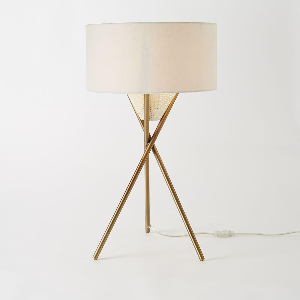 Mid century tripod table lamp antique brass west elm uk mid century tripod table lamp antique brass aloadofball Images