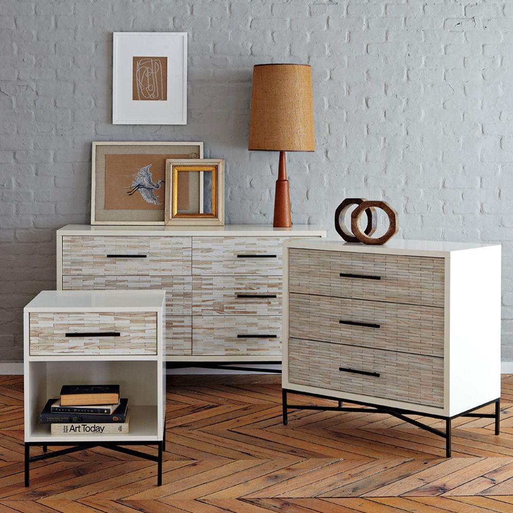 Wood tiled 3 drawer chest west elm uk for Dresser and nightstand set
