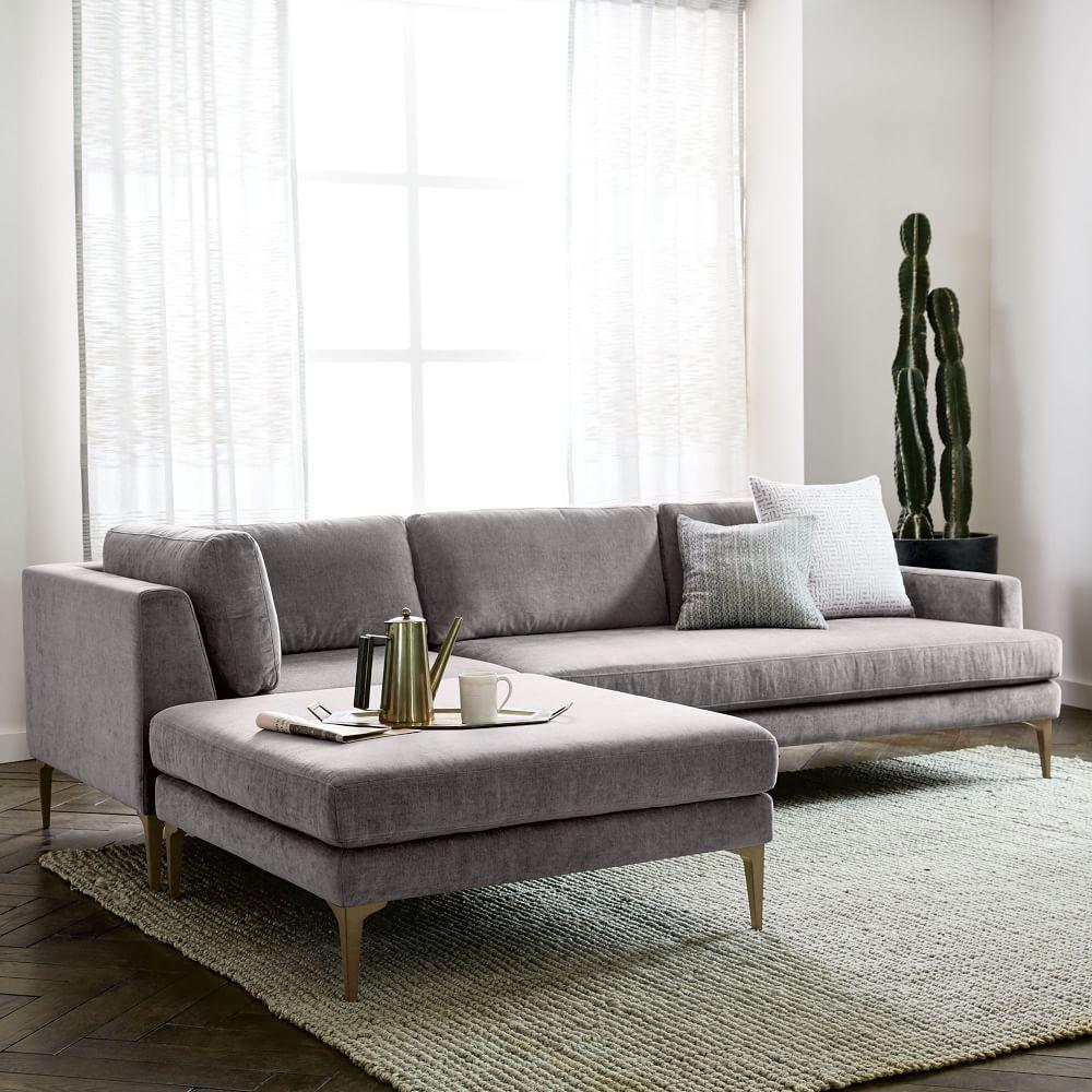 Andes 3 Piece Chaise Sectional Metal Distressed Velvet
