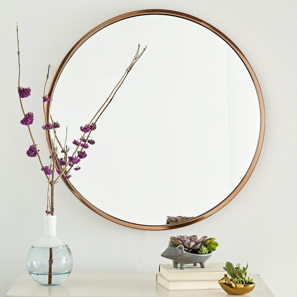 Metal framed round wall mirror west elm uk for Large portrait mirror