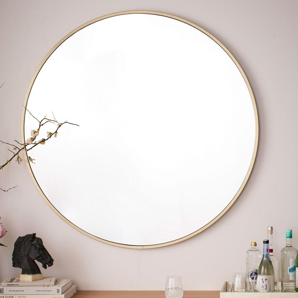Metal framed oversized round mirror west elm uk for Extra large round mirror