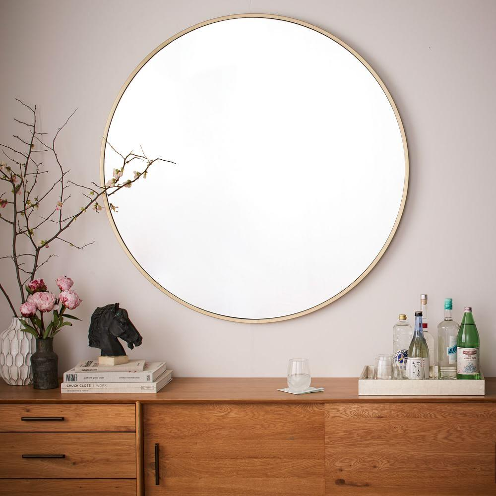 Metal framed oversized round mirror west elm uk for Oversized mirror