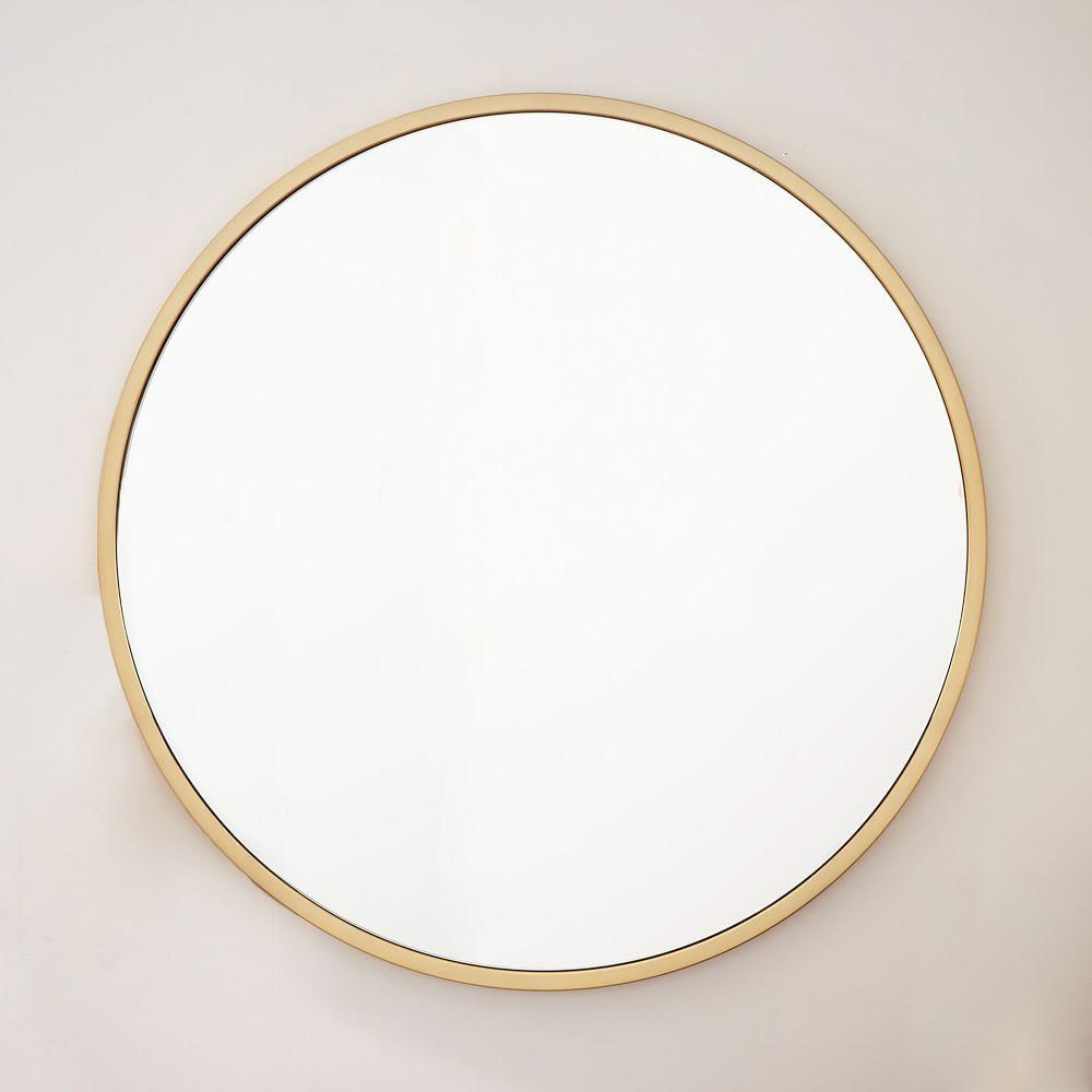 Metal framed oversized round mirror west elm uk for How to make a round frame for mirror