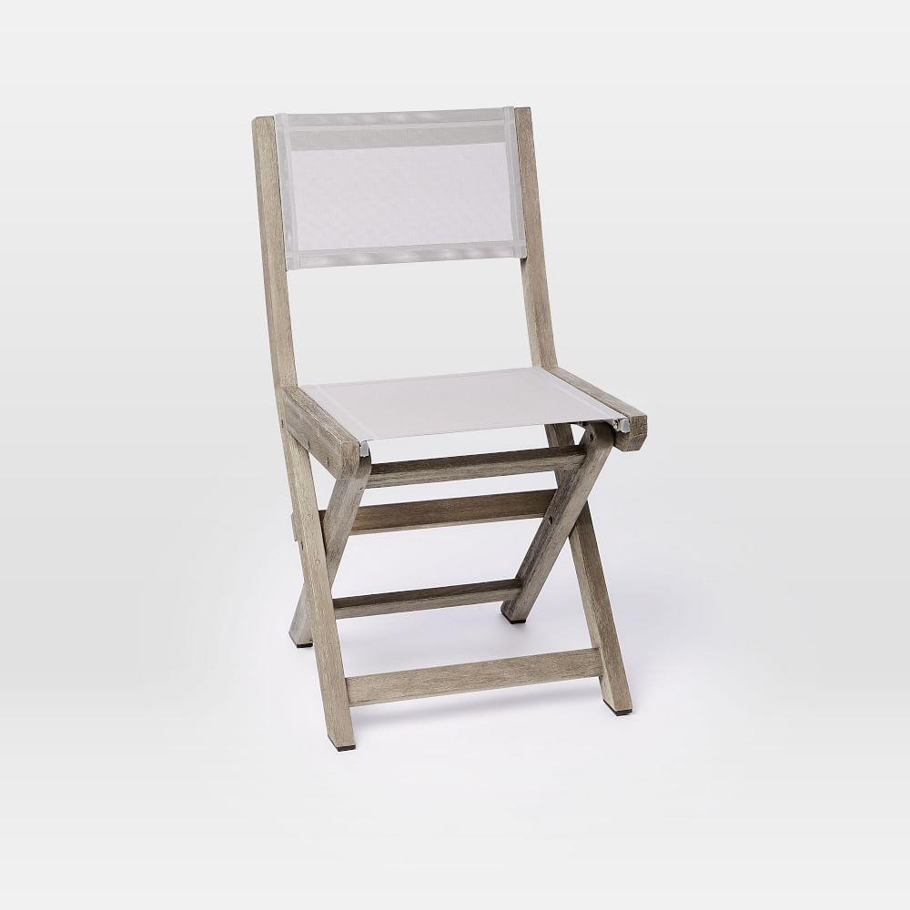 portside folding textilene bistro chair weathered grey west elm uk