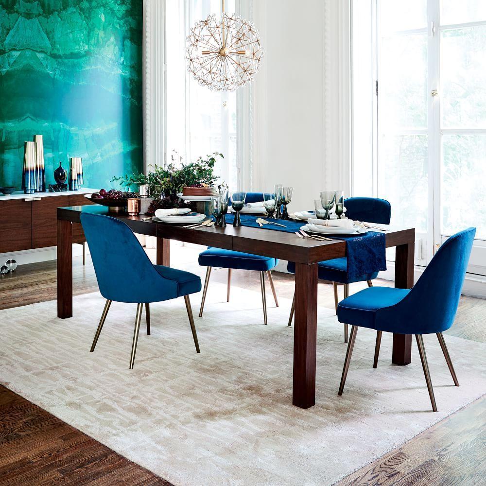 Mid-Century Upholstered Dining Chair - Velvet | west elm UK
