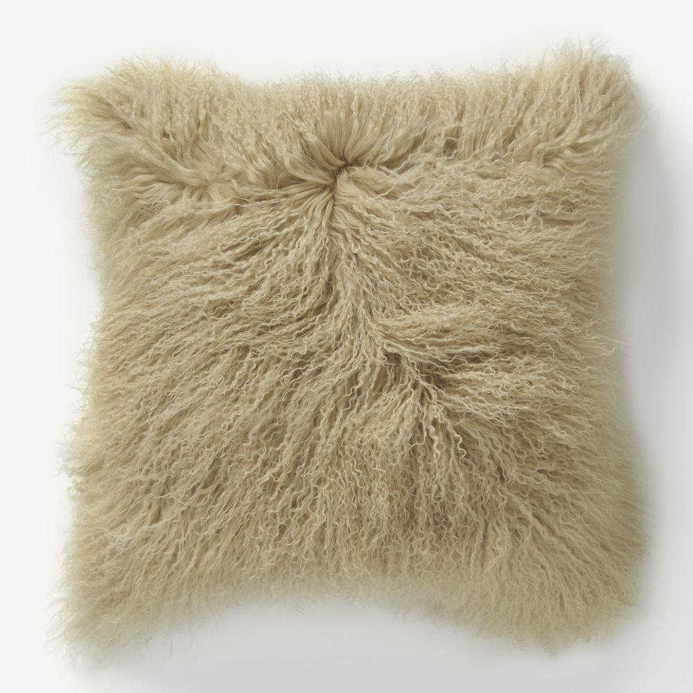 Mongolian Lamb Cushion Cover Pebble 61 Cm Sq West
