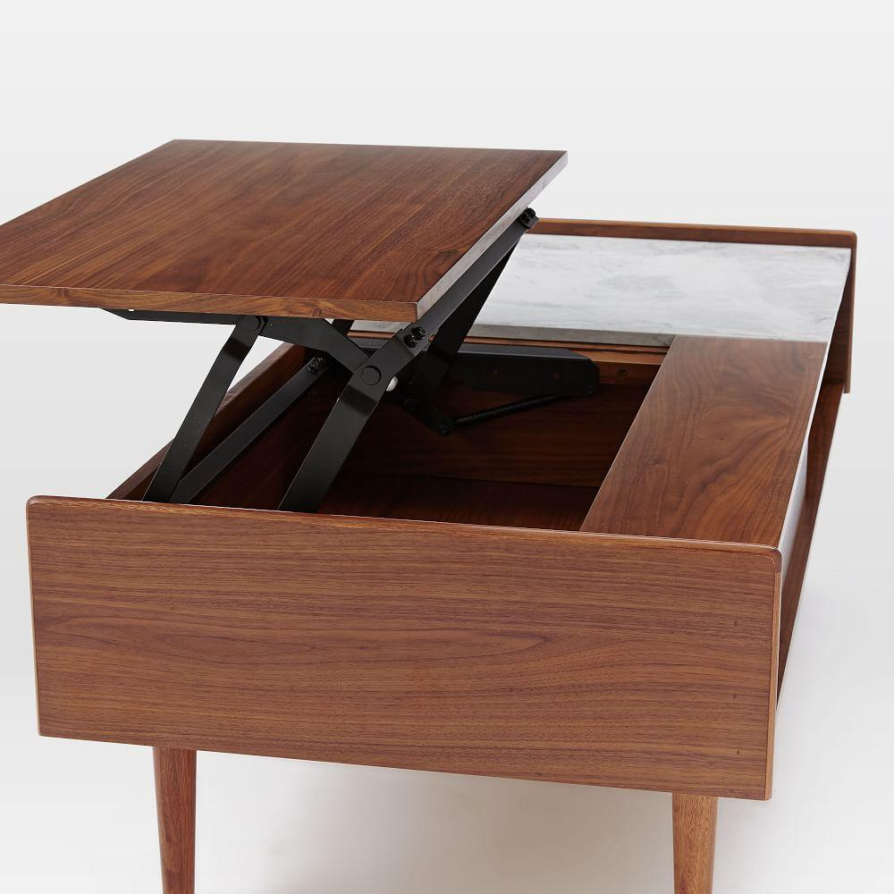 Mid-Century Pop-Up Storage Coffee Table