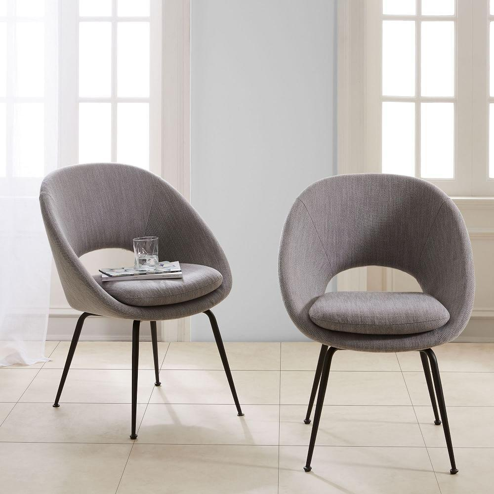 Orb Upholstered Dining Chair Antique Bronze Legs West Elm UK - Upholstered dining chairs uk