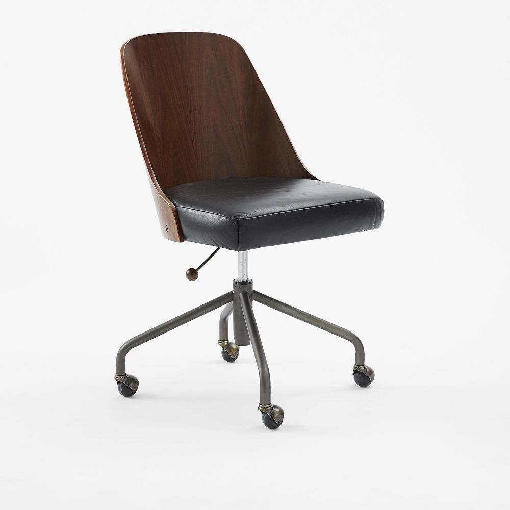 Bentwood Leather Office Chair West Elm Uk