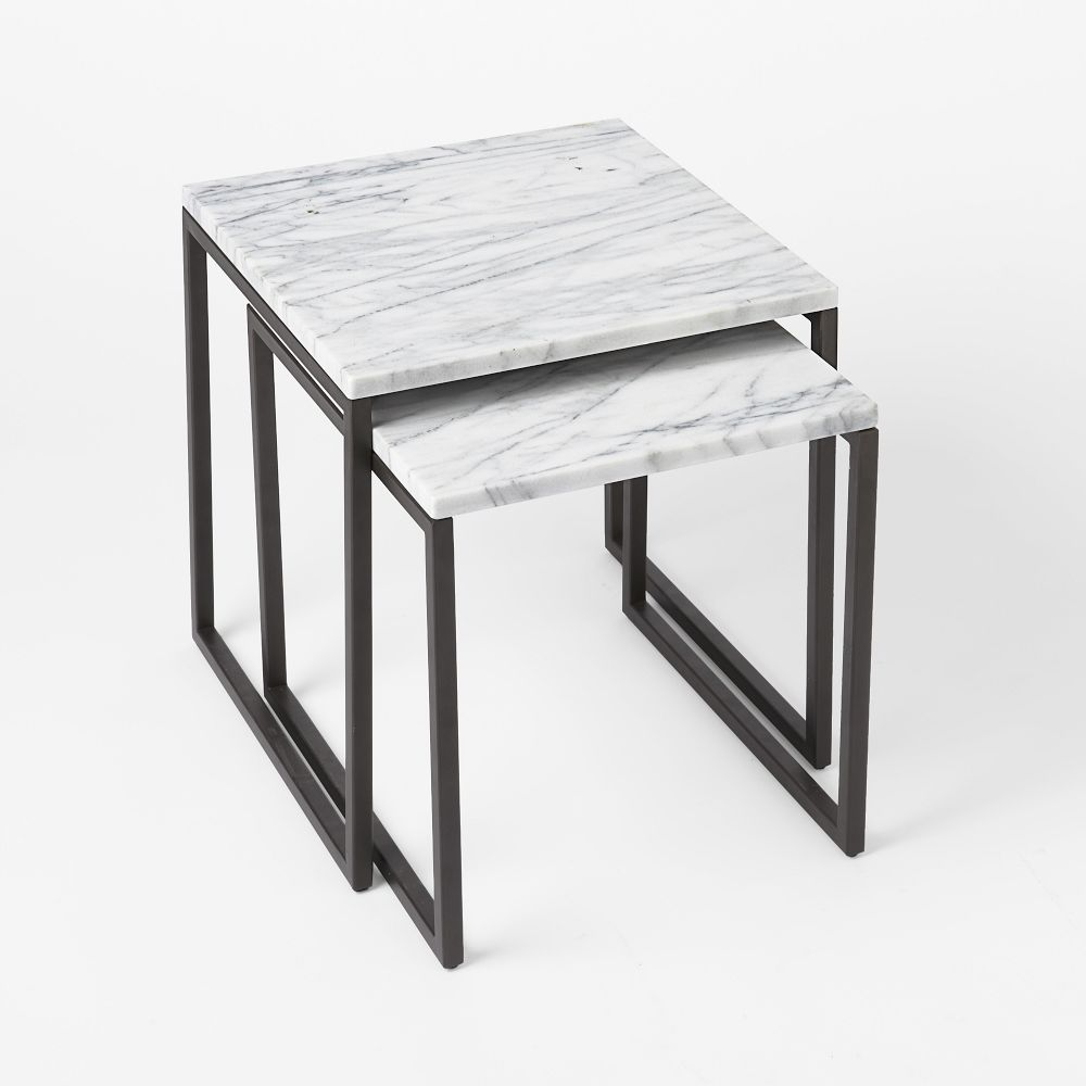 Marble Ayva Nesting Coffee Tables Set Of 2: Box Frame Nesting Tables