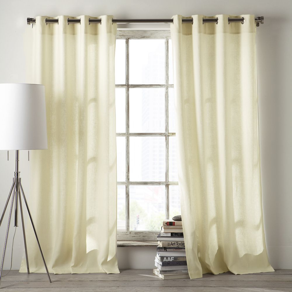 Linen Cotton Grommet Curtain Ivory