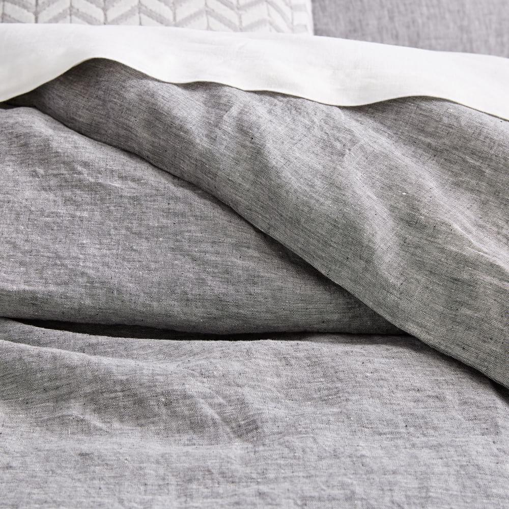 belgian flax linen melange duvet cover pillowcases slate west elm uk. Black Bedroom Furniture Sets. Home Design Ideas