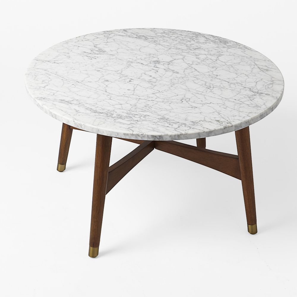 Mid Century Modern Marble Table: Reeve Mid-Century Coffee Table - Marble/Walnut
