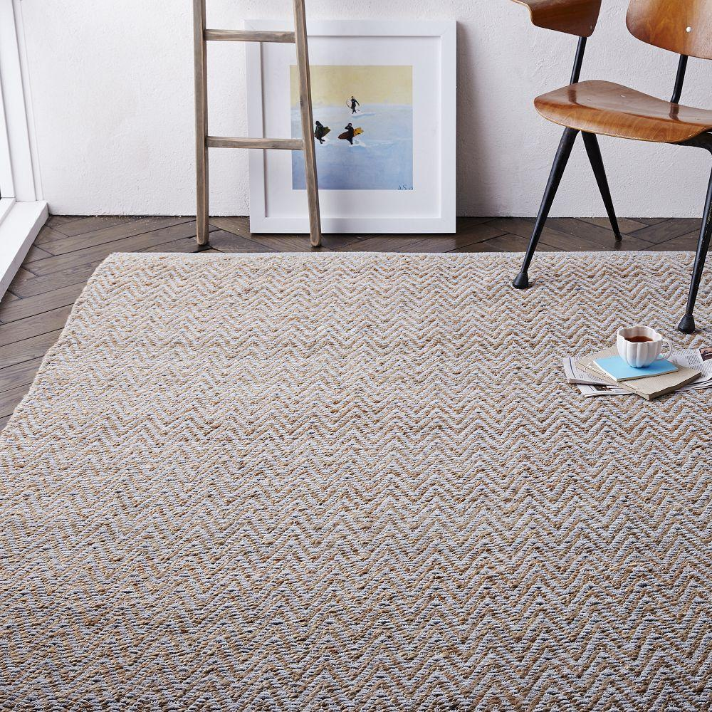 Jute Chenille Herringbone Rug Natural Platinum West Elm Uk