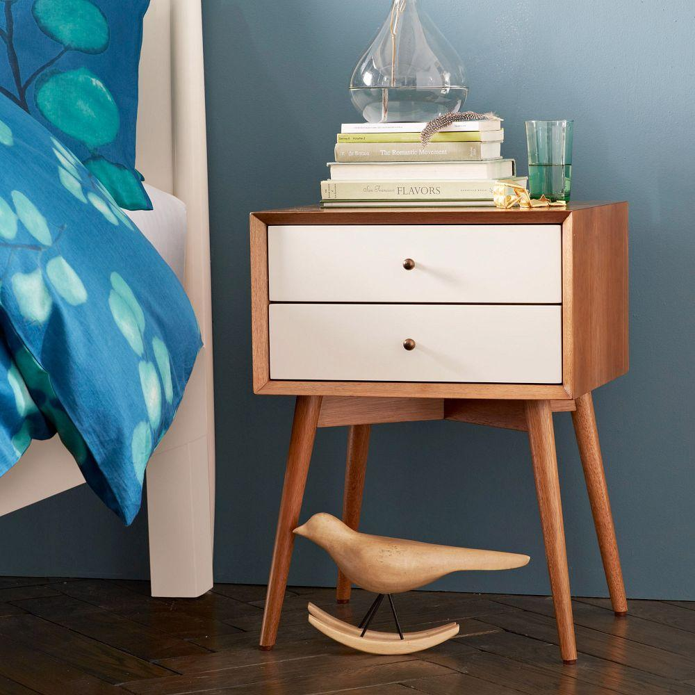 Mid Century Bedside Table White Acorn West Elm Uk