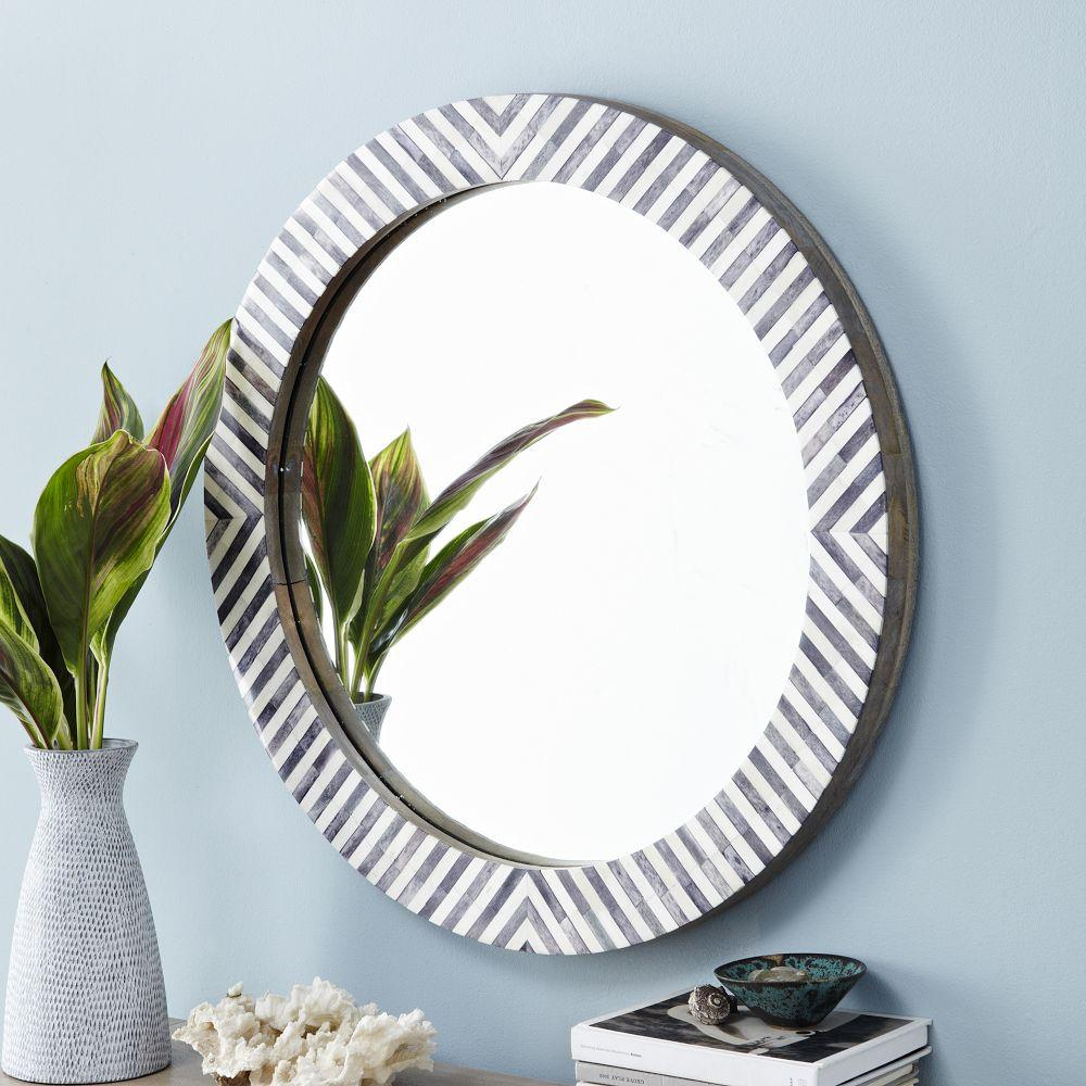 parsons round mirror herringbone west elm uk. Black Bedroom Furniture Sets. Home Design Ideas