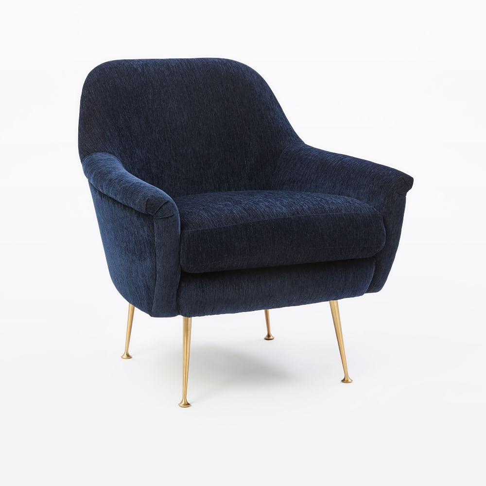 Phoebe Chair - Ink Blue (Distressed Velvet)