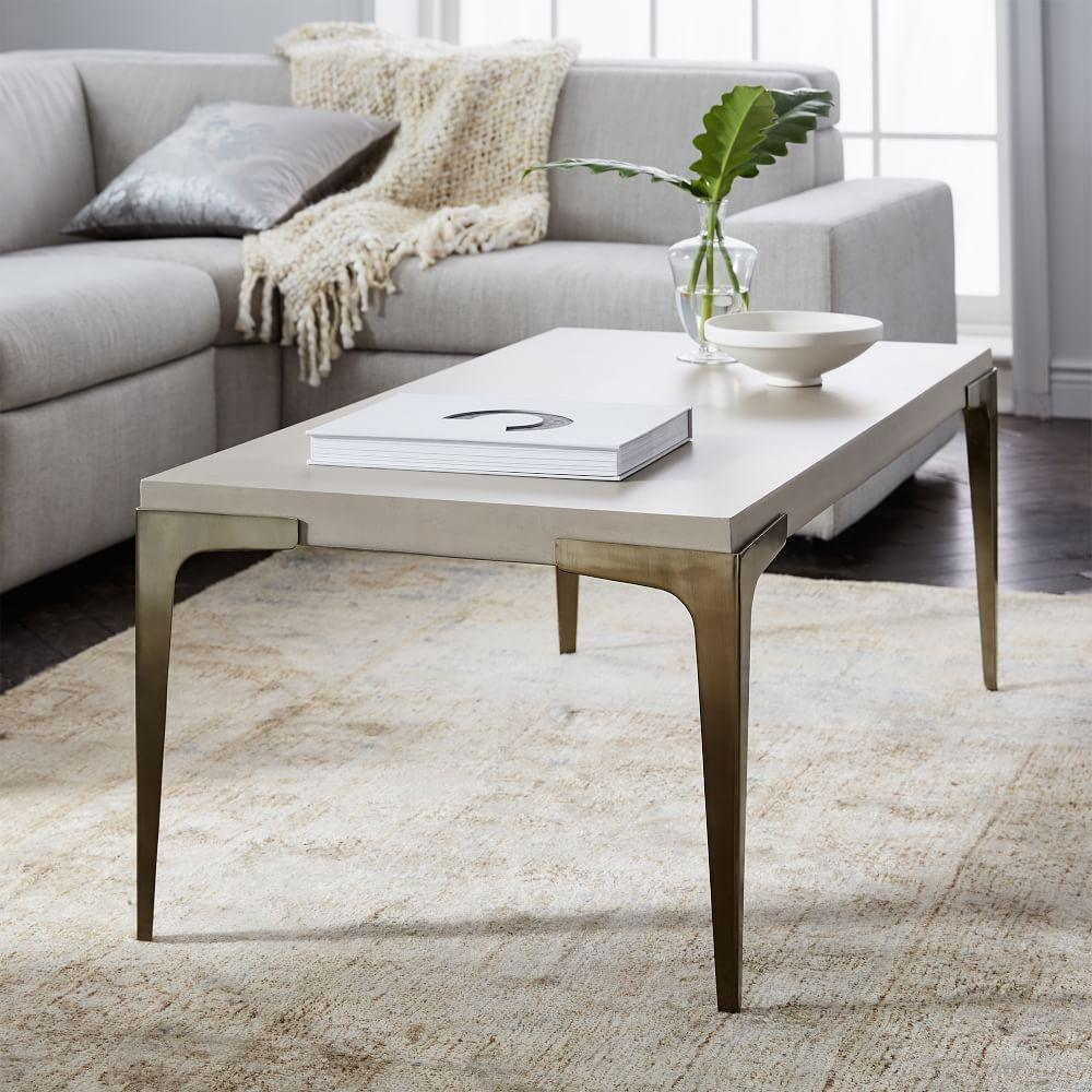 Brass Display Coffee Table: Brass + Concrete Coffee Table