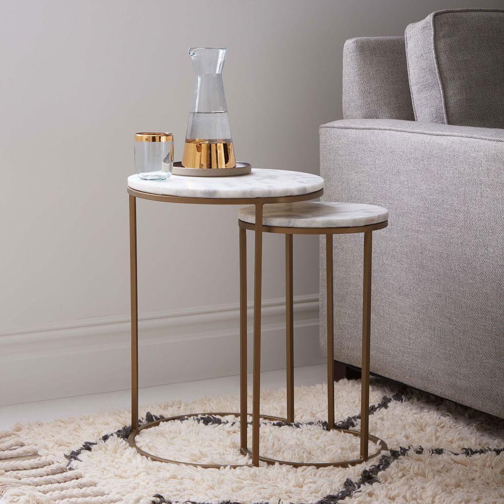 round nesting side tables set marble antique brass. Black Bedroom Furniture Sets. Home Design Ideas